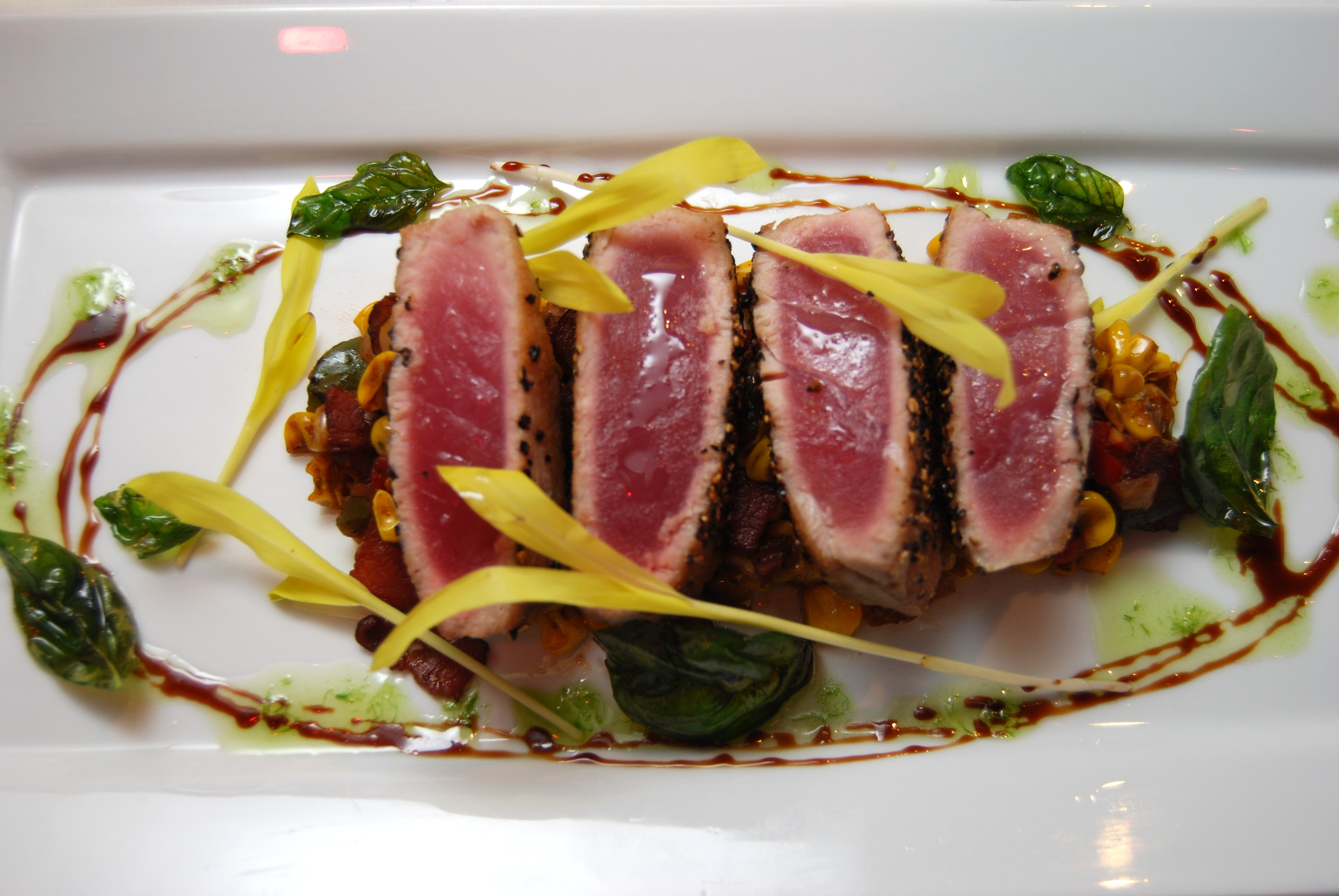 recipe photo - seared ahi tuna, grilled corn